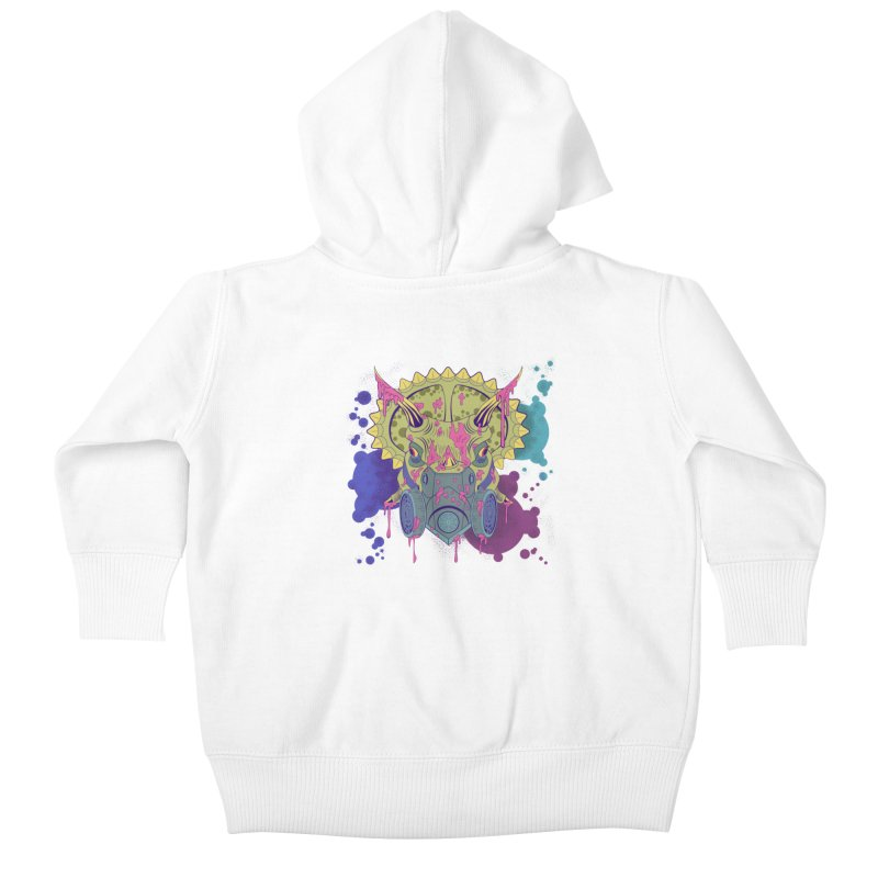 Tricera-paint Kids Baby Zip-Up Hoody by funnyfuse's Artist Shop