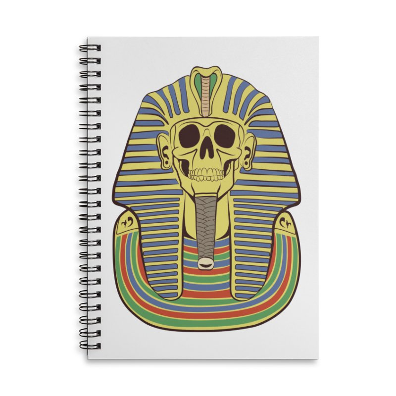 Skull Tut Accessories Lined Spiral Notebook by funnyfuse's Artist Shop