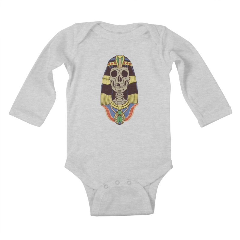 Skull Cleopatra Kids Baby Longsleeve Bodysuit by funnyfuse's Artist Shop