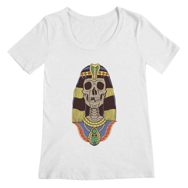 Skull Cleopatra Women's Regular Scoop Neck by funnyfuse's Artist Shop