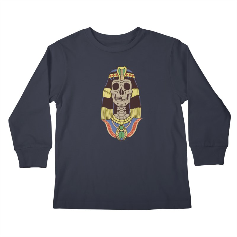 Skull Cleopatra Kids Longsleeve T-Shirt by funnyfuse's Artist Shop