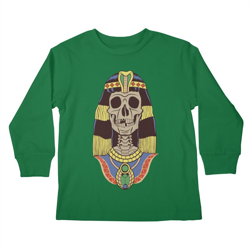 Skull Cleopatra Kids Longsleeve T-Shirt by funnyfuse's Artist Shop