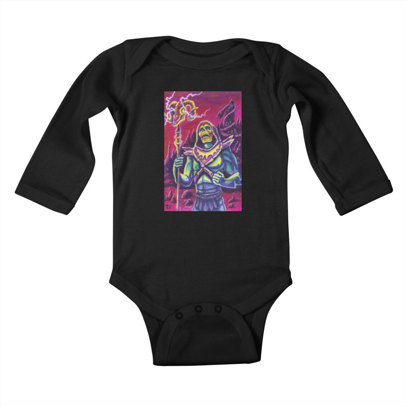 Skeletor Kids Baby Longsleeve Bodysuit by funnyfuse's Artist Shop