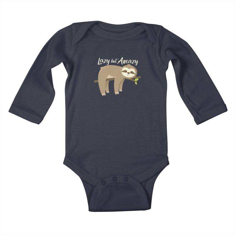 Lazy but Amazy Kids Baby Longsleeve Bodysuit by FunUsual Suspects T-shirt Shop