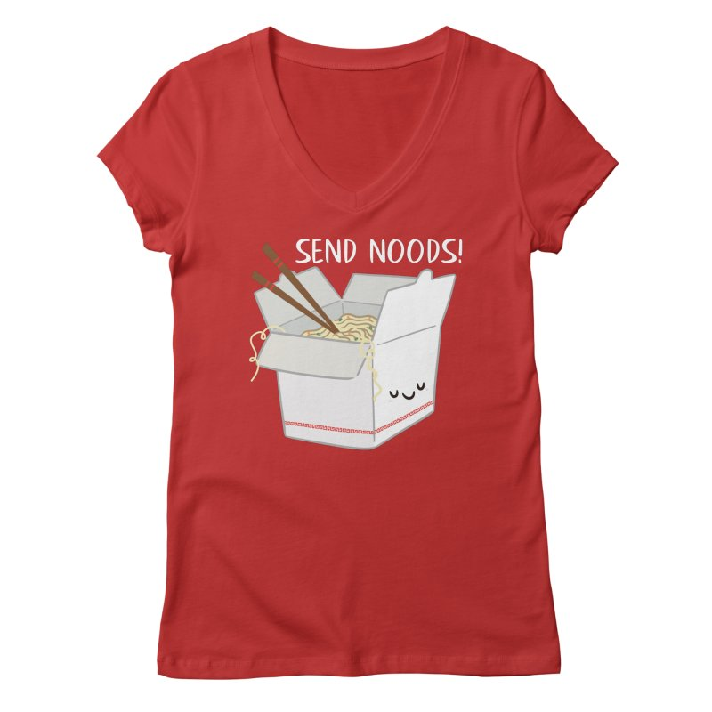 Send Noods Women's V-Neck by FunUsual Suspects T-shirt Shop