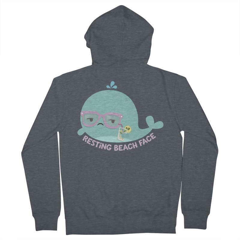 Resting Beach Face Women's French Terry Zip-Up Hoody by FunUsual Suspects T-shirt Shop