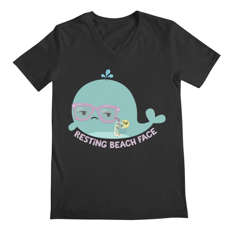 Resting Beach Face Men's Regular V-Neck by FunUsual Suspects T-shirt Shop