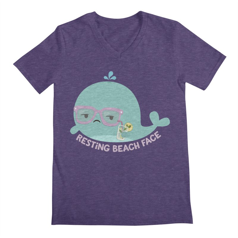 Resting Beach Face Men's V-Neck by FunUsual Suspects T-shirt Shop