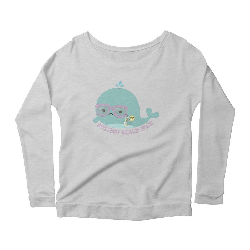 Resting Beach Face Women's Scoop Neck Longsleeve T-Shirt by FunUsual Suspects T-shirt Shop