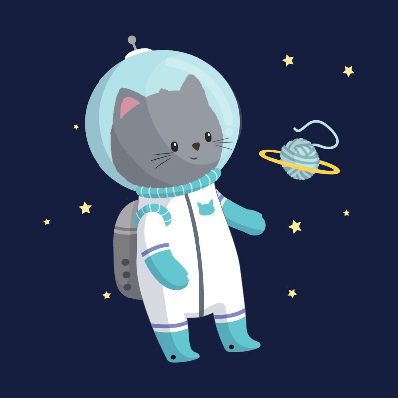 Space Cat by FunUsual Suspects T-shirt Shop