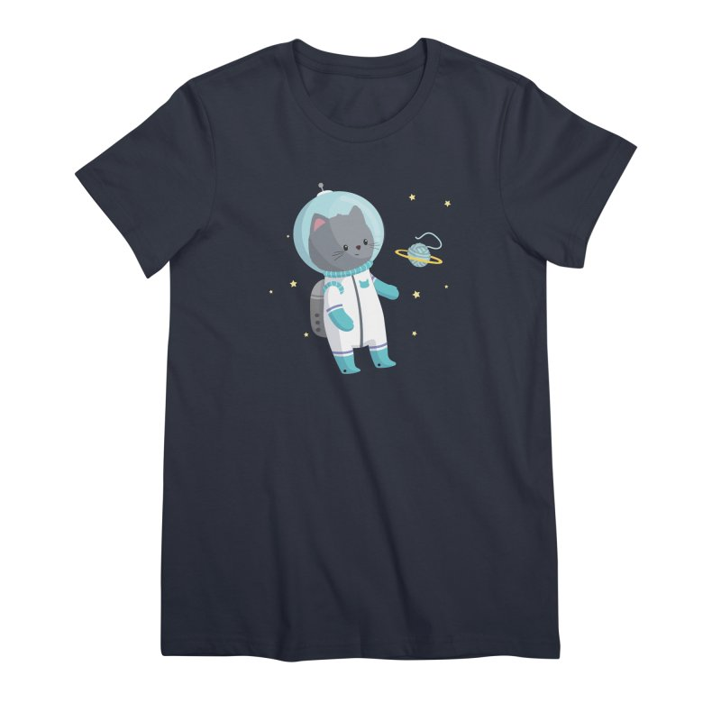 Space Cat Women's Premium T-Shirt by FunUsual Suspects T-shirt Shop