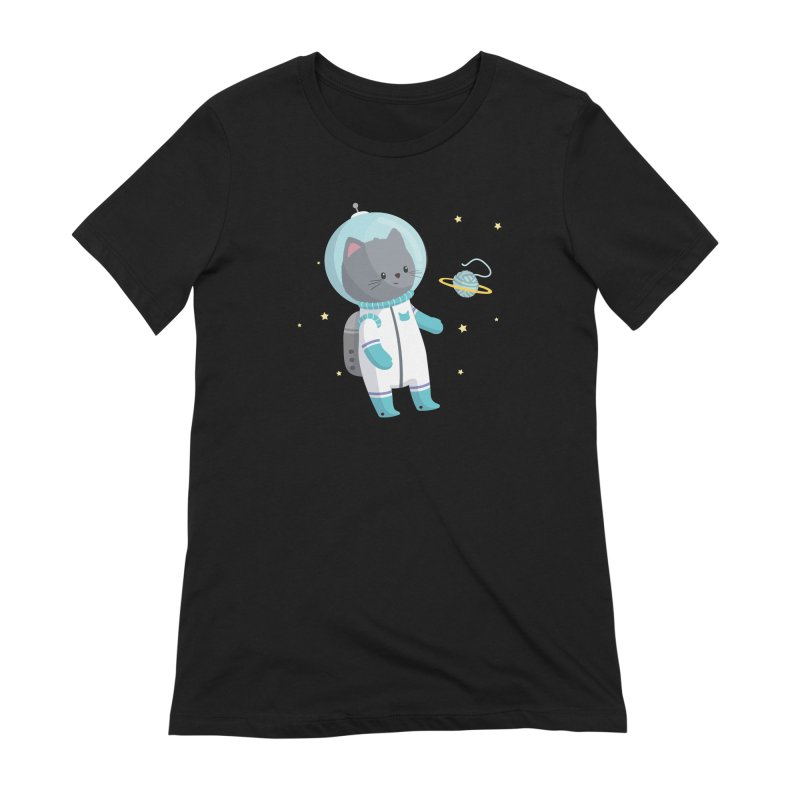 Space Cat Women's Extra Soft T-Shirt by FunUsual Suspects T-shirt Shop