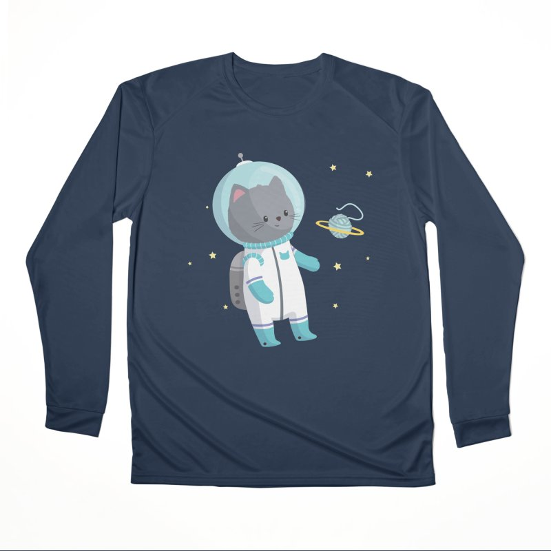 Space Cat Men's Performance Longsleeve T-Shirt by FunUsual Suspects T-shirt Shop
