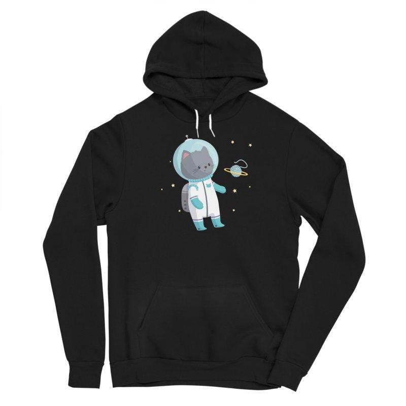 Space Cat Women's Sponge Fleece Pullover Hoody by FunUsual Suspects T-shirt Shop