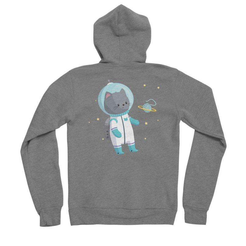 Space Cat Men's Sponge Fleece Zip-Up Hoody by FunUsual Suspects T-shirt Shop