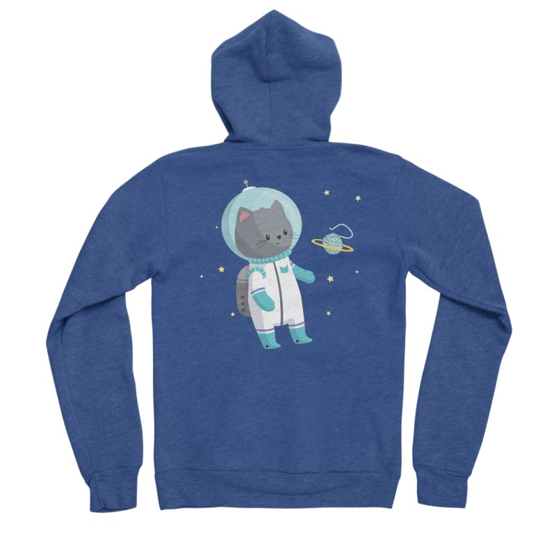 Space Cat Women's Sponge Fleece Zip-Up Hoody by FunUsual Suspects T-shirt Shop