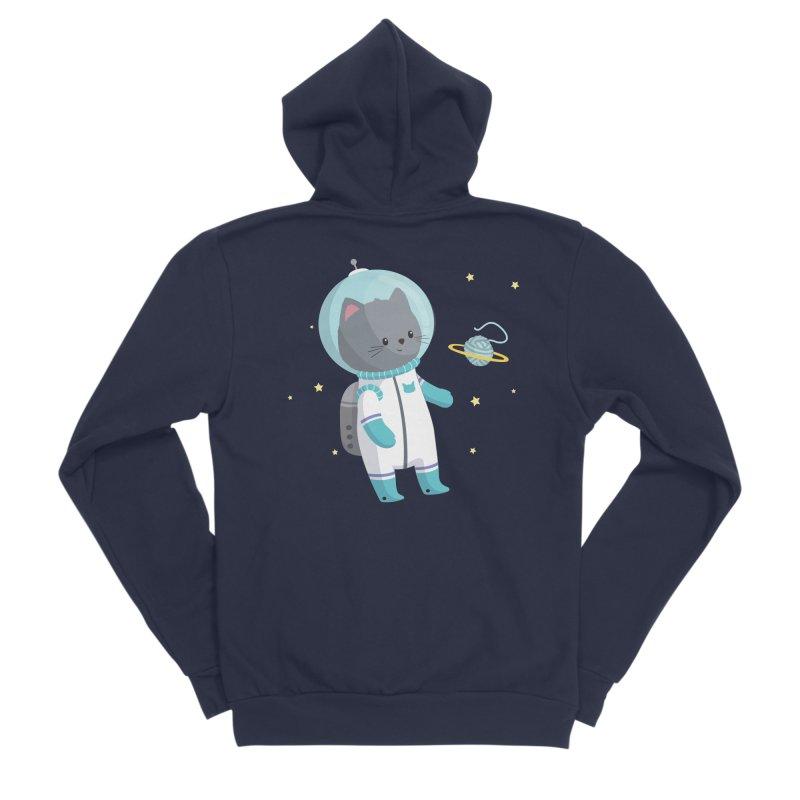 Space Cat Women's Sponge Fleece Zip-Up Hoody by FunUsual Suspects T-shirt Shop