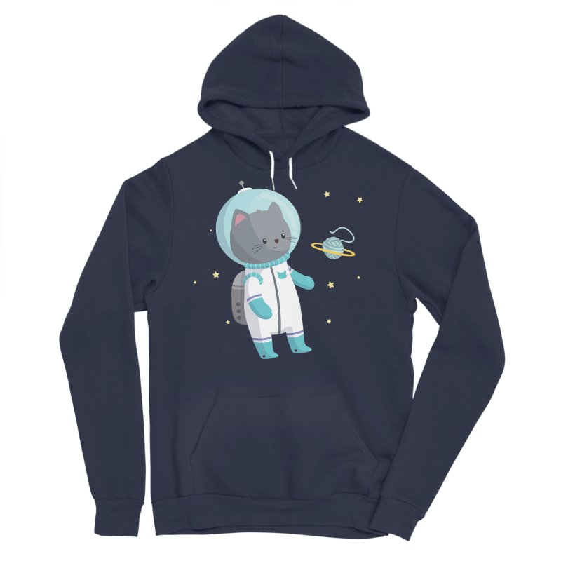 Space Cat Men's Sponge Fleece Pullover Hoody by FunUsual Suspects T-shirt Shop