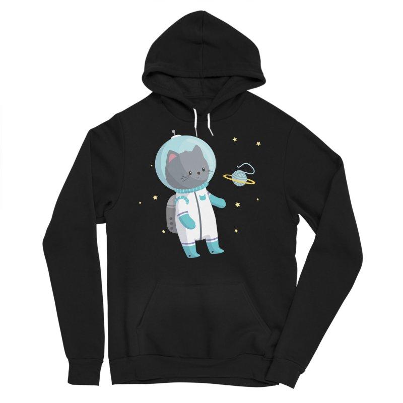 Space Cat Men's Sponge Fleece Pullover Hoody by FunUsual Suspects T-shirt Shop