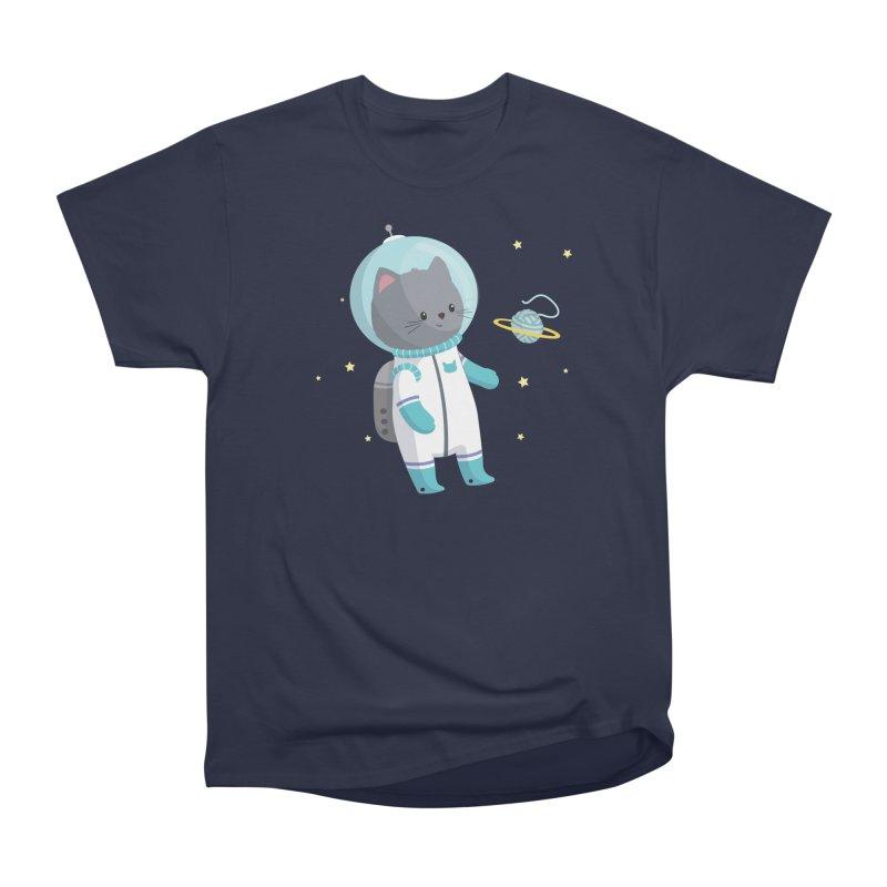 Space Cat Men's Heavyweight T-Shirt by FunUsual Suspects T-shirt Shop