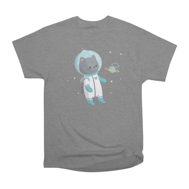 Space Cat Women's Heavyweight Unisex T-Shirt by FunUsual Suspects T-shirt Shop