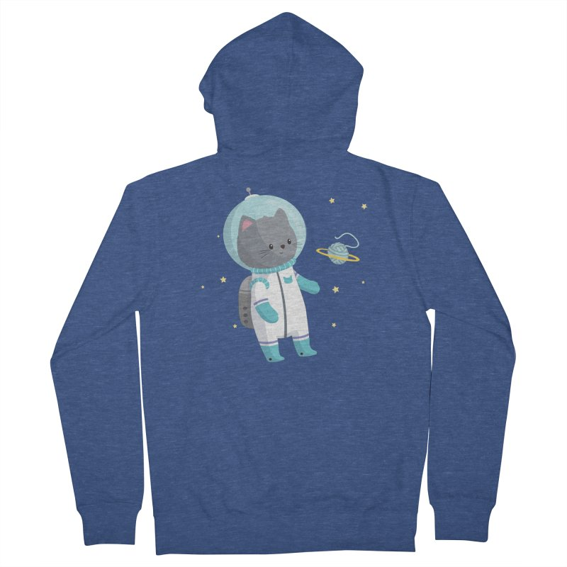 Space Cat Men's French Terry Zip-Up Hoody by FunUsual Suspects T-shirt Shop