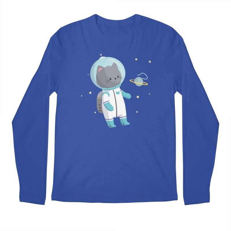 Space Cat Men's Regular Longsleeve T-Shirt by FunUsual Suspects T-shirt Shop
