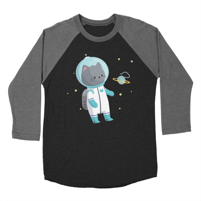 Space Cat Women's Baseball Triblend Longsleeve T-Shirt by FunUsual Suspects T-shirt Shop