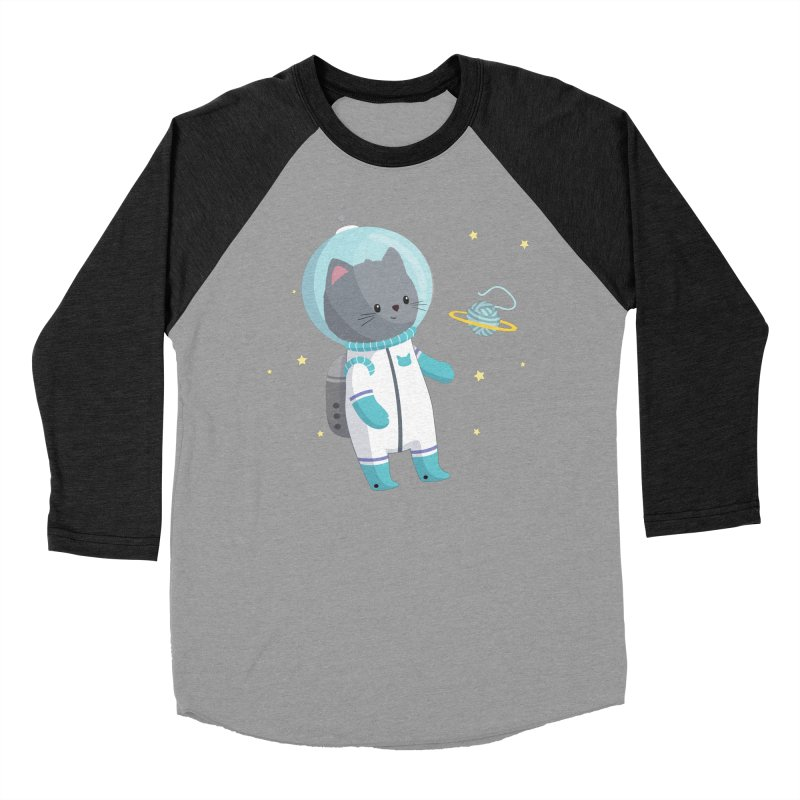 Space Cat Men's Baseball Triblend Longsleeve T-Shirt by FunUsual Suspects T-shirt Shop