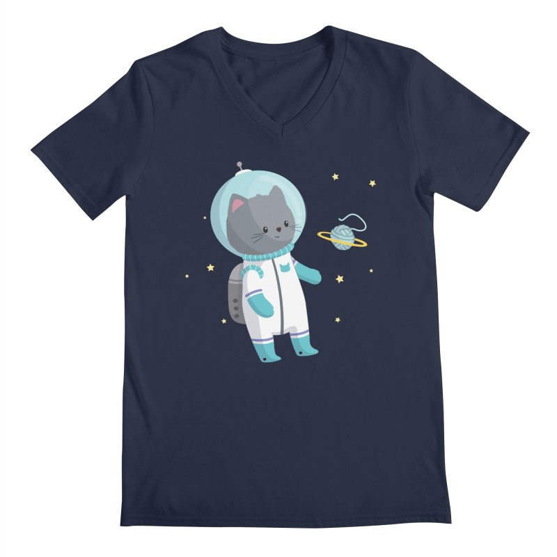 Space Cat Men's V-Neck by FunUsual Suspects T-shirt Shop