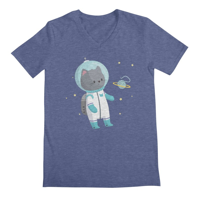 Space Cat Men's Regular V-Neck by FunUsual Suspects T-shirt Shop