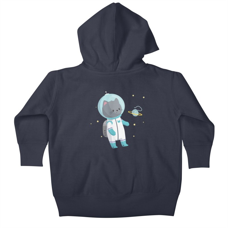 Space Cat Kids Baby Zip-Up Hoody by FunUsual Suspects T-shirt Shop