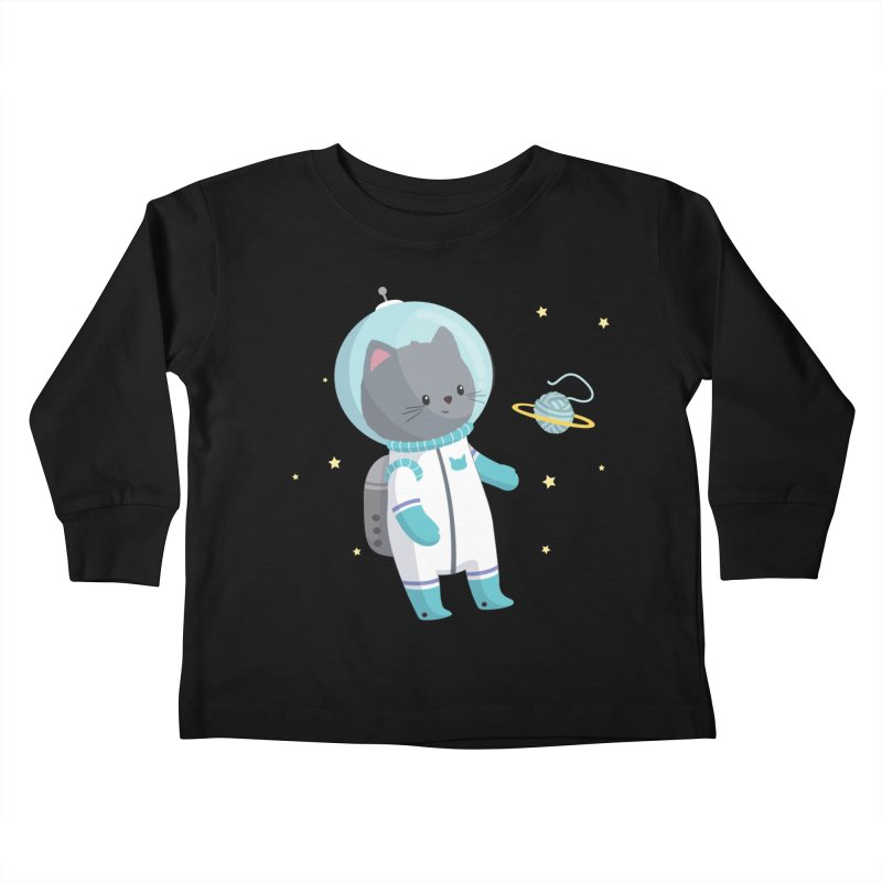 Space Cat Kids Toddler Longsleeve T-Shirt by FunUsual Suspects T-shirt Shop