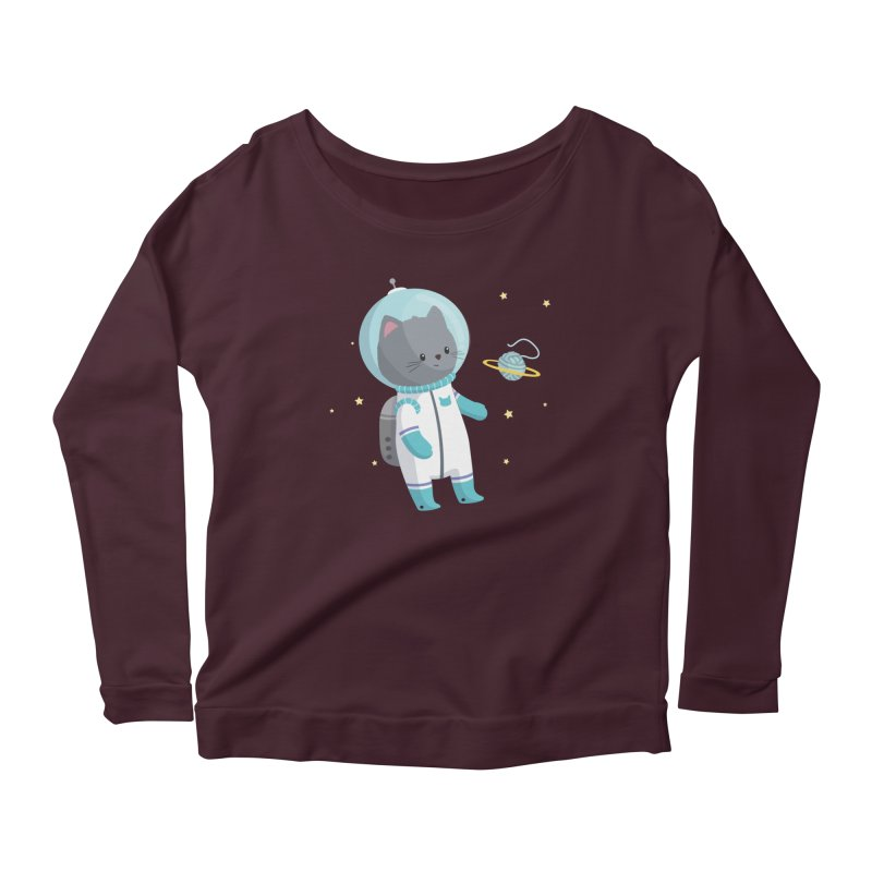 Space Cat Women's Longsleeve T-Shirt by FunUsual Suspects T-shirt Shop