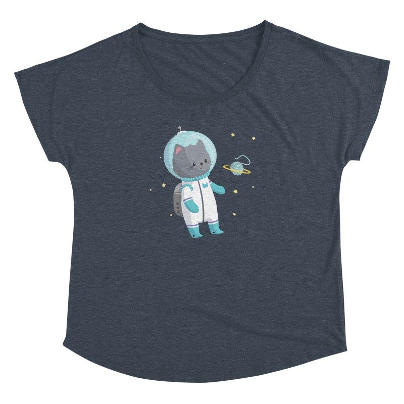 Space Cat Women's Dolman Scoop Neck by FunUsual Suspects T-shirt Shop