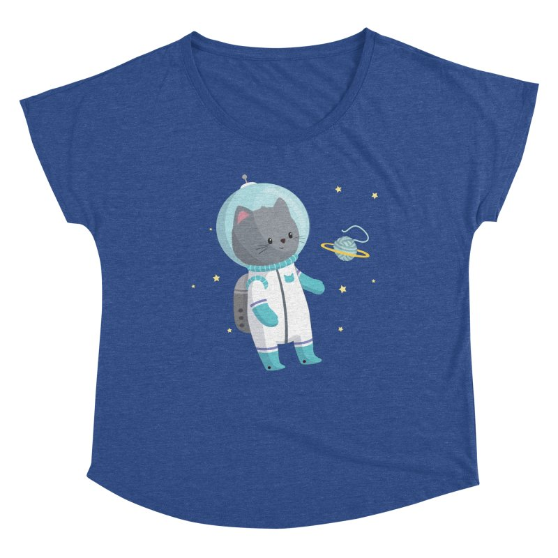 Space Cat Women's Scoop Neck by FunUsual Suspects T-shirt Shop