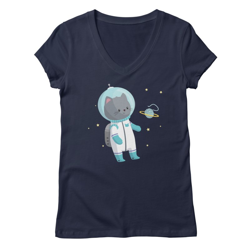 Space Cat Women's Regular V-Neck by FunUsual Suspects T-shirt Shop
