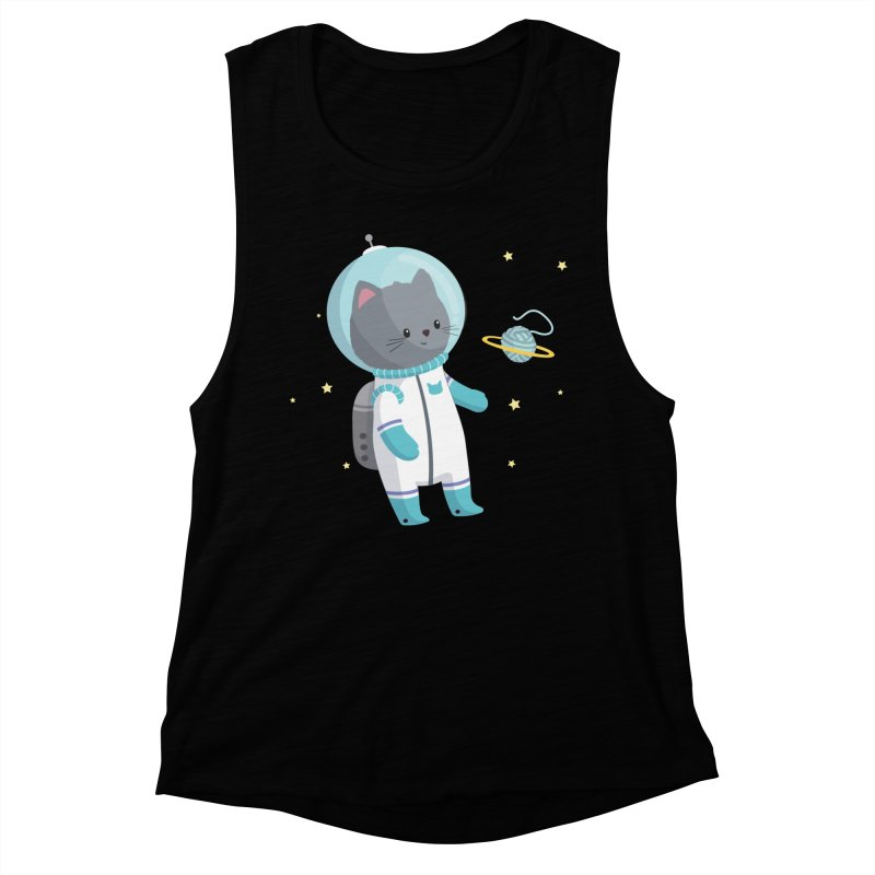 Space Cat Women's Muscle Tank by FunUsual Suspects T-shirt Shop