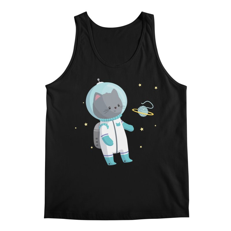 Space Cat Men's Regular Tank by FunUsual Suspects T-shirt Shop