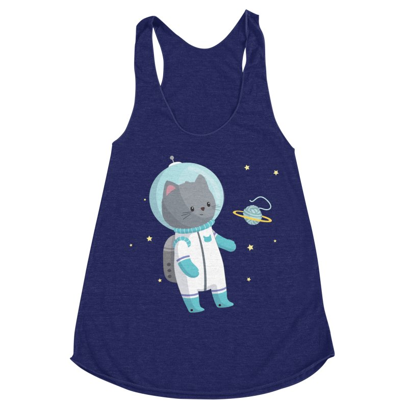 Space Cat Women's Racerback Triblend Tank by FunUsual Suspects T-shirt Shop