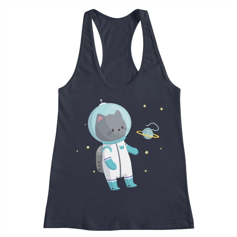 Space Cat Women's Racerback Tank by FunUsual Suspects T-shirt Shop