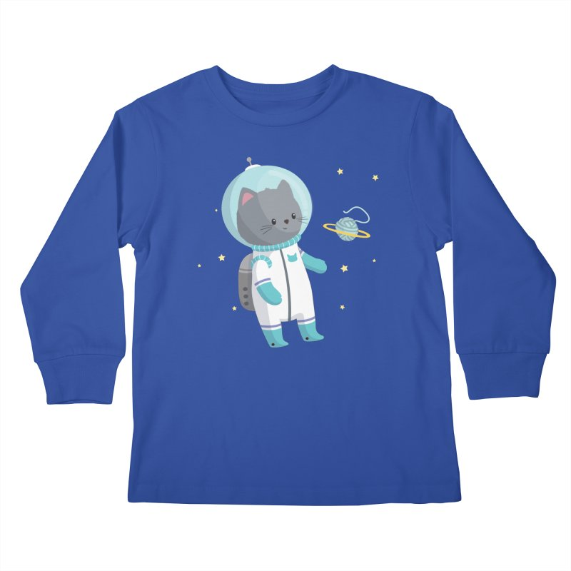 Space Cat Kids Longsleeve T-Shirt by FunUsual Suspects T-shirt Shop