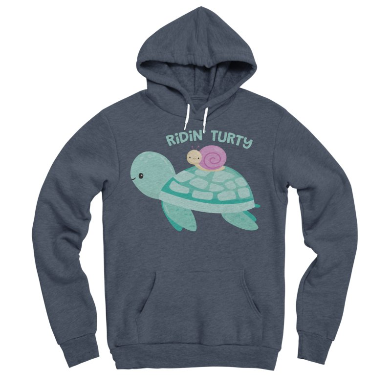 Ridin' Turty Men's Sponge Fleece Pullover Hoody by FunUsual Suspects T-shirt Shop