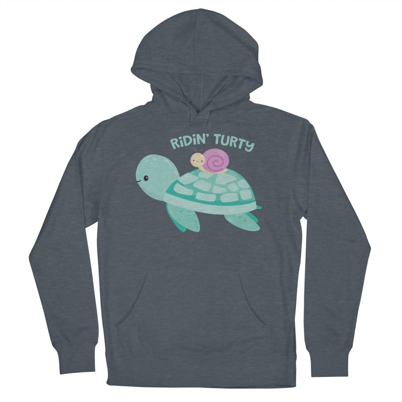 Ridin' Turty Men's French Terry Pullover Hoody by FunUsual Suspects T-shirt Shop