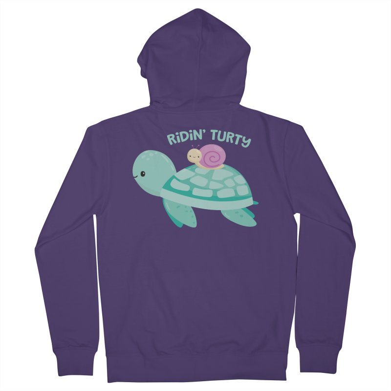 Ridin' Turty Women's French Terry Zip-Up Hoody by FunUsual Suspects T-shirt Shop