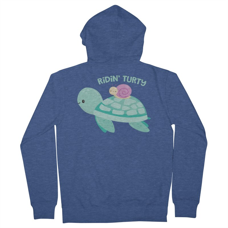 Ridin' Turty Men's French Terry Zip-Up Hoody by FunUsual Suspects T-shirt Shop