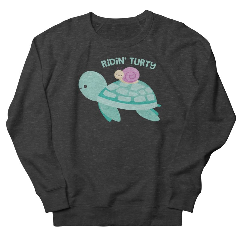 Ridin' Turty Women's French Terry Sweatshirt by FunUsual Suspects T-shirt Shop