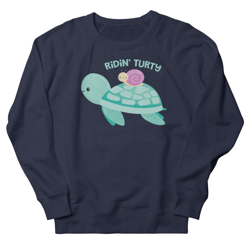 Ridin' Turty Women's French Terry Sweatshirt by FunUsual Suspects T-shirt Shop