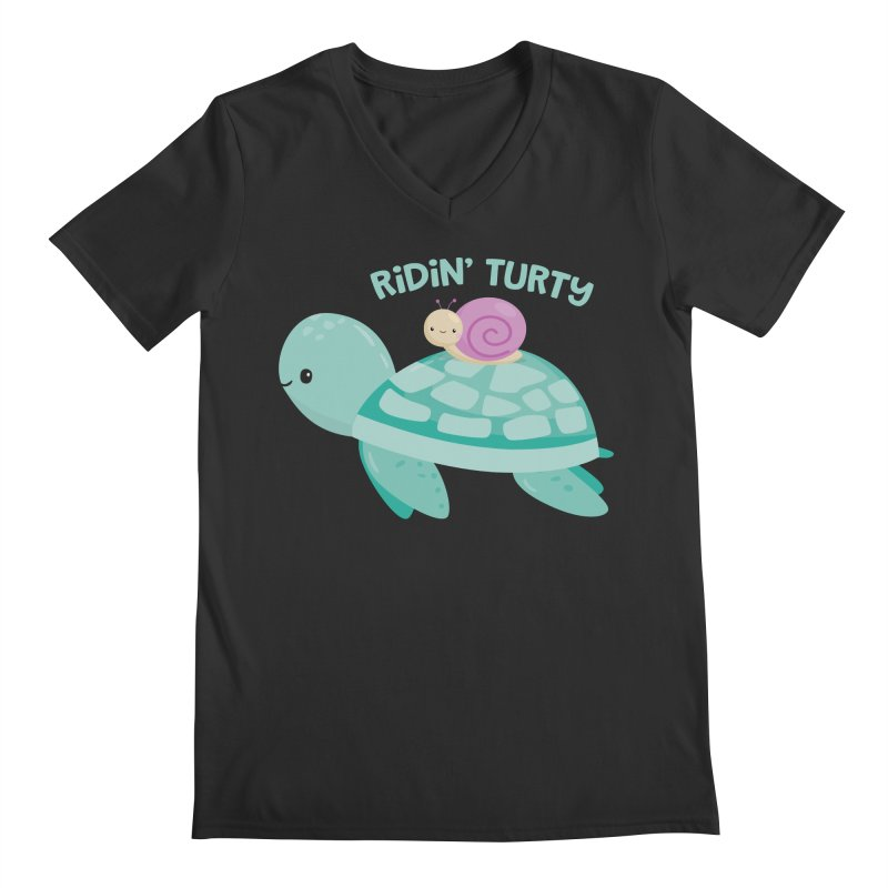 Ridin' Turty Men's Regular V-Neck by FunUsual Suspects T-shirt Shop