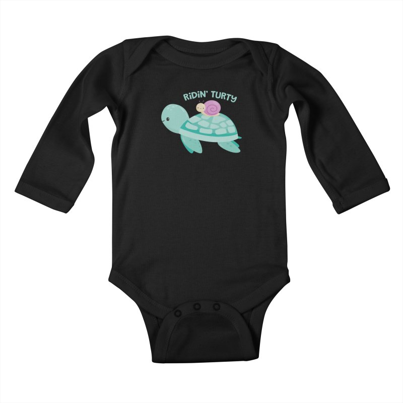 Ridin' Turty Kids Baby Longsleeve Bodysuit by FunUsual Suspects T-shirt Shop